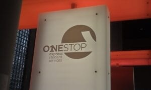 One Stop sign on the ground floor of Hodge Library.
