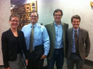 Food Policy Council members Stephanie Welch, James Bosi, Stevie Seifried, and Liam Hysjulien attend a Knoxville City Council meeting.