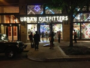 Students arrive at Urban Outfitters for College Night.