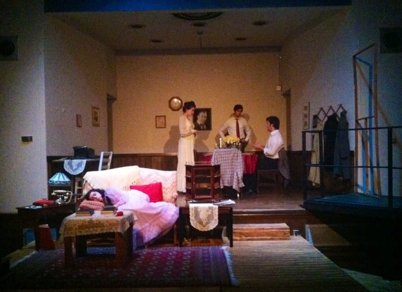 The cast of the Glass Menagerie prepares for opening night. Photo courtesy of Rachel Finney.