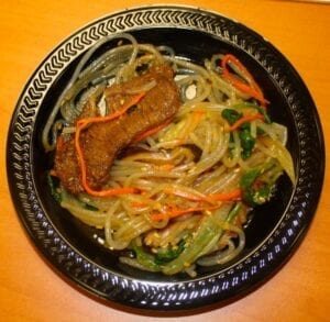 Two traditional Korean dishes, japchae and bulgogi were paired together and served to audience members of the cooking demonstration.