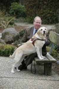 Michael Hingson with his guide dog that helped him lead many out of World Trade Center One.