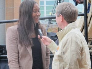 Former Lady Vol Tamika Catchings reflects on the ceremony to local reporters. Photo by Nichole Stevens