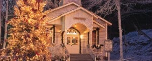 Dollywood chapel adorned with Christmas lights. Courtesy of Dollywood press release