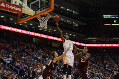 Antonio Barton goes up for the lay-up over Texas A&M defenders, photo by Ryan McGill