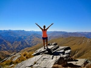 UT student Paige Biringer Atop the strenuous Ben Lomand Summit in Queenstown, New Zealand.