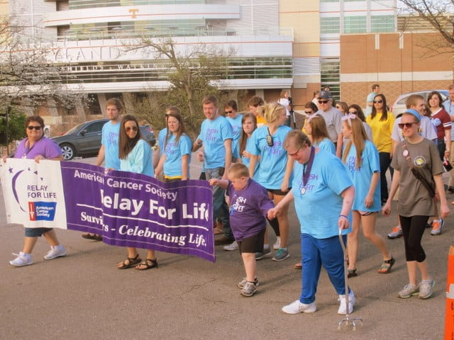 The Survivors Lap, was lead around Circle Park by cancer survivors and followed by Relay participants. Gabrielle O'Neal/TNJN