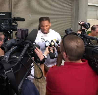 Antonio Richardson speaks with reporters following his Pro Day workouts. Richardson predicts as a first round pick in April's NFL Draft. Photo by Jordan Dajani.