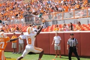 WR Marquez North reaches for a pass in the end zone. Photo by Zach Dennis.