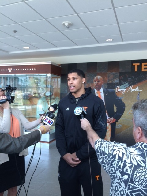 Jarnell Stokes addresses media Friday after he declares for the NBA.    Photo by Jordan Dajani