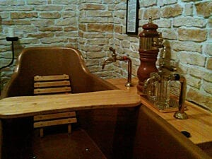 Bernard Beer Spa tubs are accompanied by an attach tap for customers to enjoy an unlimited supply of the house brew.