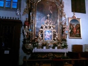 A Catholic shrine to the Virgin Mary at a cathedral in Old Town Square.
