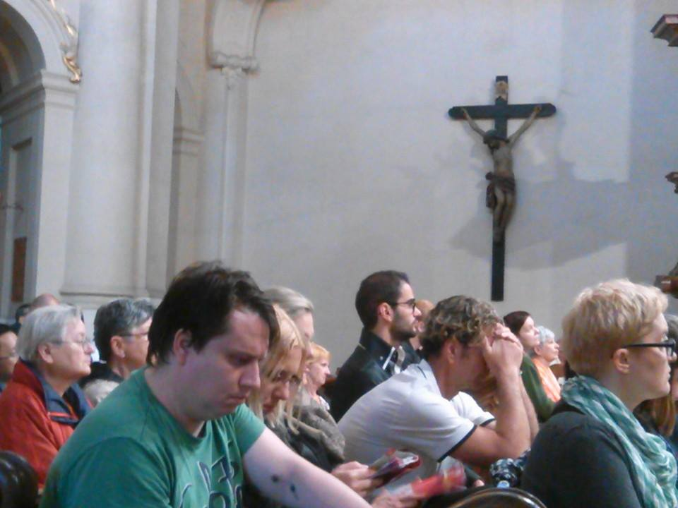 A crowd gathers at St. Nicholas Church in Prague for the Long Night of Churches.