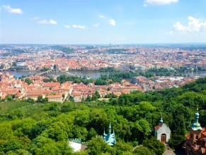 At the top of  the Petřín Tower, tourists can look at all of Prague in a 360 degree view.