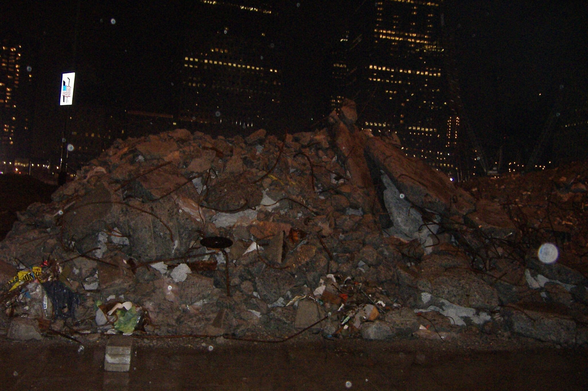 Rubble from the World Trade Center towers still not cleaned up six years after 9/11.