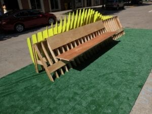 A bench designed into a shape of a car by student's at the College of Architecture and Design