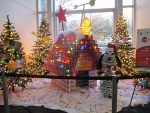 """Almost 2,000 cans were used in creating """"A CANtastic Peanuts Christmas""""."""