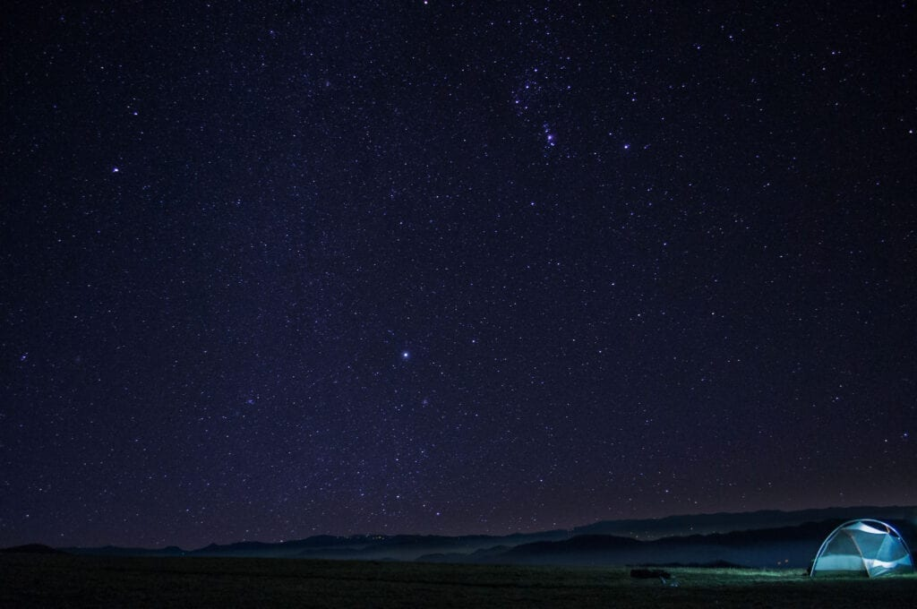Stars glow at the top of Max Patch in  N.C. on the Appalachian Trail.