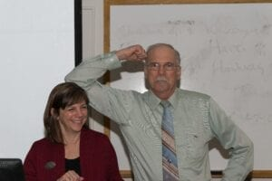Martha Wiley and Tom Des Jean have fun after their lecture on archaeology in the Cumberland Gap.//Photo by Ryan McGill