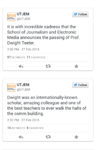 @UTJEM wrote a Tweet announcing the news of Teeter's death Feb. 27.
