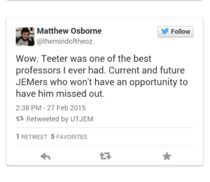 Matthew Osborne tweet, paying respect to Teeter as a professor.