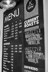 K Brew's extensive menu of espressos and coffees. //Photo by Katy Hill