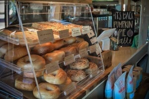 K Brew also offers items such as bagels and biscotti. //Photo by Katy Hill