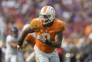 TAMPA, FL - JANUARY 01, 2016 defensive end Derek Barnett #9 of the Tennessee Volunteers during the Outback Bowl between the Tennessee Volunteers and the Northwestern Wildcats at Raymond James Stadium in Tampa, FL. Photo By Hayley Pennesi/Tennessee Athletics