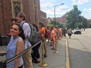 Students began lining up for the Peyton Manning lecture over one hour before the doors opened. Credit: Kaitlin Flippo