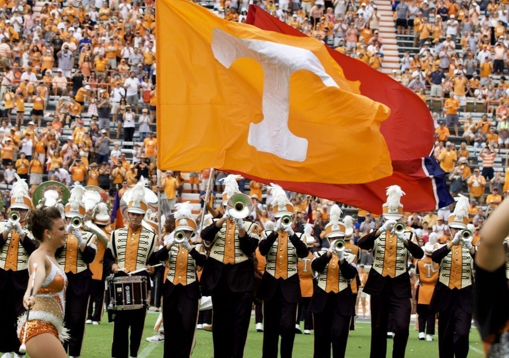 The Pride of the Southland Band forms the Power T in Neyland Stadium on Sept. 14, 2019 in Knoxville, Tennessee. Photo/ Ben Gleason
