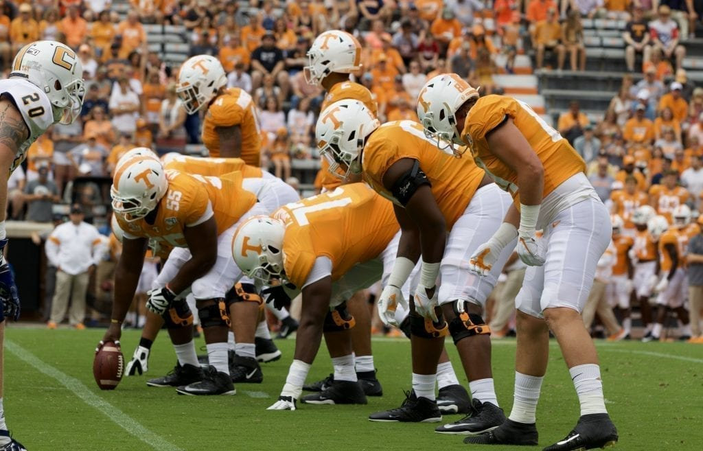 Tennessee's offensive line sets up on the line of scrimmage in Neyland Stadium on Sept. 14, 2019 in Knoxville, Tennessee. Photo/ Ben Gleason