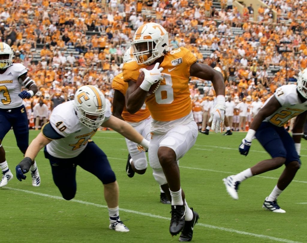 Tennessee running back Ty Chandler #8 rushes into the end zone for the Vols first touchdown in Neyland Stadium on Sept. 14, 2019 in Knoxville, Tennessee. Photo/ Ben Gleason