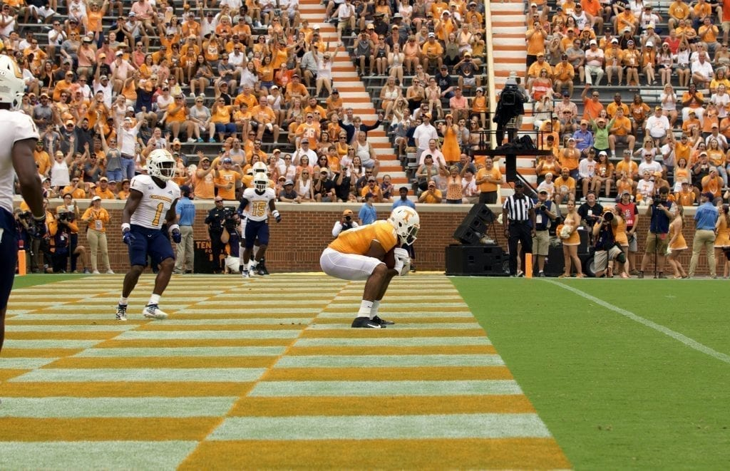 Tennessee wide receiver Jauan Jennings #15 pulls in a touchdown reception all alone in the end zone in Neyland Stadium on Sept. 14, 2019 in Knoxville, Tennessee. Photo/ Ben Gleason