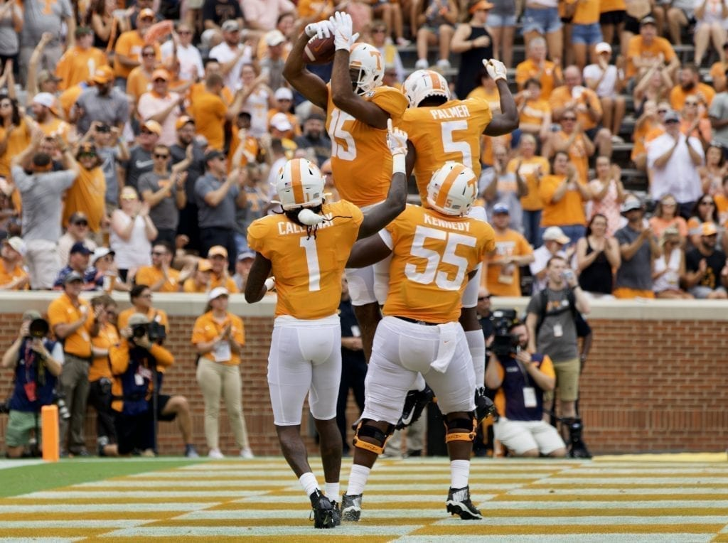 Tennessee wide receiver Jauan Jennings #15 celebrates a touchdown with his teammates in Neyland Stadium on Sept. 14, 2019 in Knoxville, Tennessee. Photo/ Ben Gleason