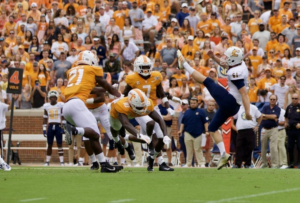 Tennessee wide receiver Tyler Byrd #10 lays out to block a punt versus Chattanooga in Neyland Stadium on Sept. 14, 2019 in Knoxville, Tennessee. Photo/ Ben Gleason