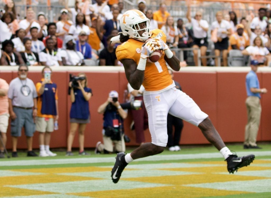 Tennessee wide receiver Marquez Callaway #1 reels in a touchdown reception versus Chattanooga in Neyland Stadium on Sept. 14, 2019 in Knoxville, Tennessee. Photo/ Ben Gleason