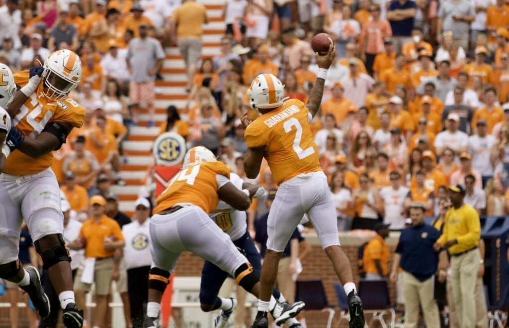 Tennessee quarterback Jarret Guarantano #2 throws a pass in Neyland Stadium on Sept. 14, 2019 in Knoxville, Tennessee. Photo/ Ben Gleason