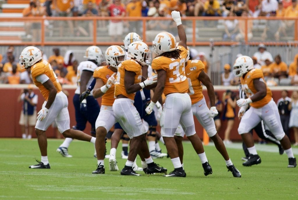 Tennessee linebackerJeremy Banks #33 celebrates with his teammates after a defensive stop versus Chattanooga in Neyland Stadium on Sept. 14, 2019 in Knoxville, Tennessee. Photo/ Ben Gleason