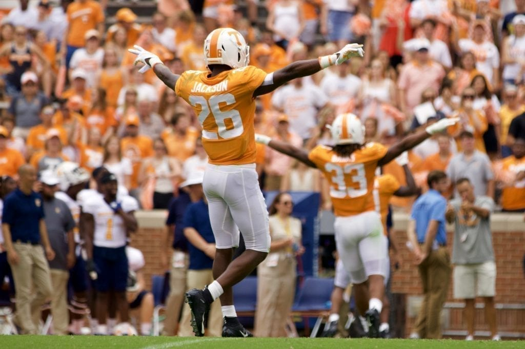 Tennessee defensive back Theo Jackson #26 celebrates a defensive stop in Neyland Stadium on Sept. 14, 2019 in Knoxville, Tennessee. Photo/ Ben Gleason