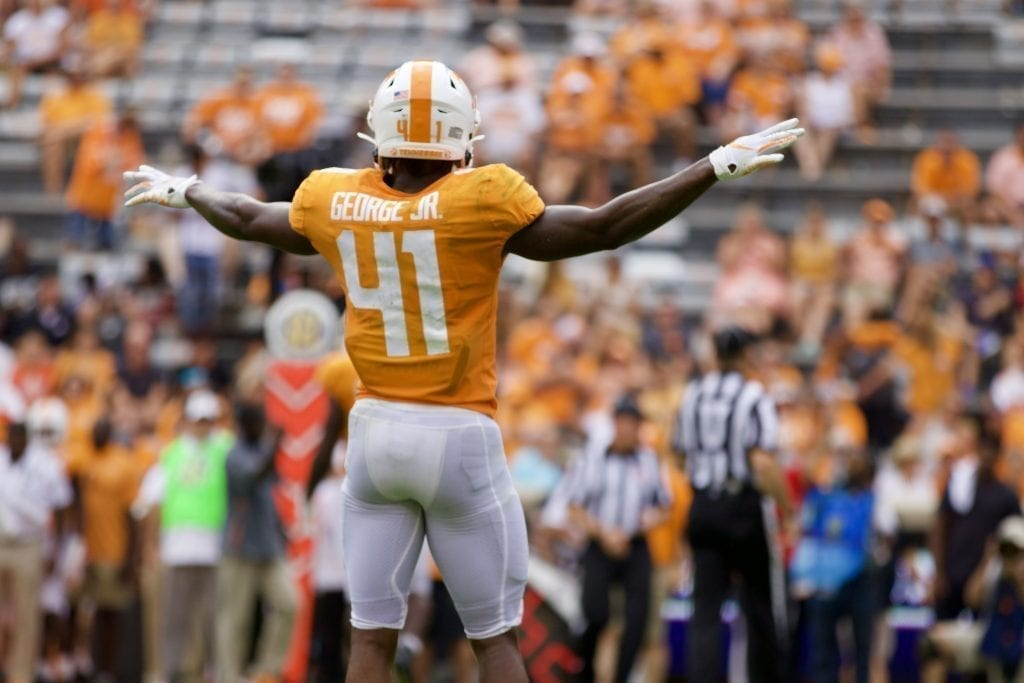 Tennessee defensive back Kenneth George Jr. #41 celebrates a pass breakup versus Chattanooga in Neyland Stadium on Sept. 14, 2019 in Knoxville, Tennessee. Photo/ Ben Gleason