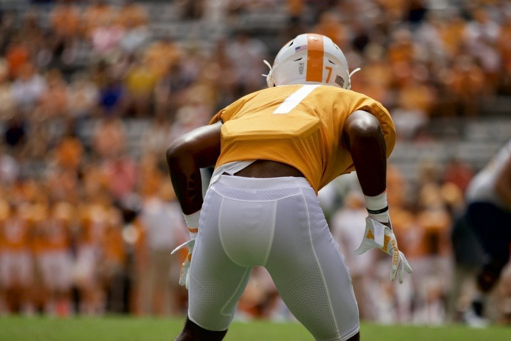 Tennessee defensive back Romello Edwards #7 lines up versus Chattanooga in Neyland Stadium on Sept. 14, 2019 in Knoxville, Tennessee. Photo/ Ben Gleason