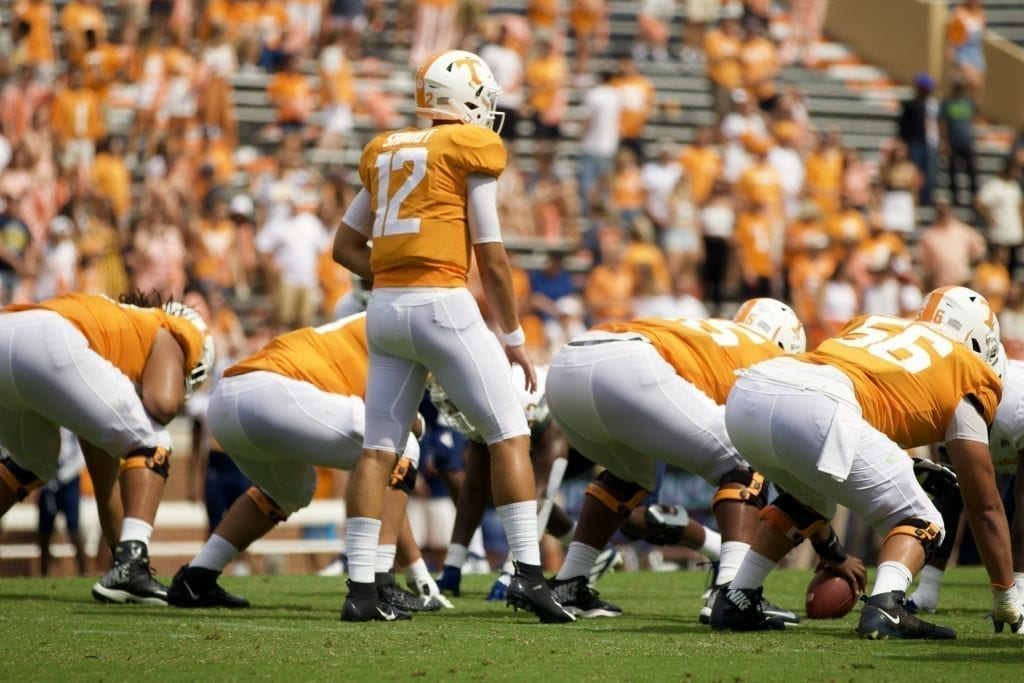 Tennessee freshman quarterback J.T. Shrout #12 lines up versus Chattanooga in Neyland Stadium on Sept. 14, 2019 in Knoxville, Tennessee. Photo/ Ben Gleason