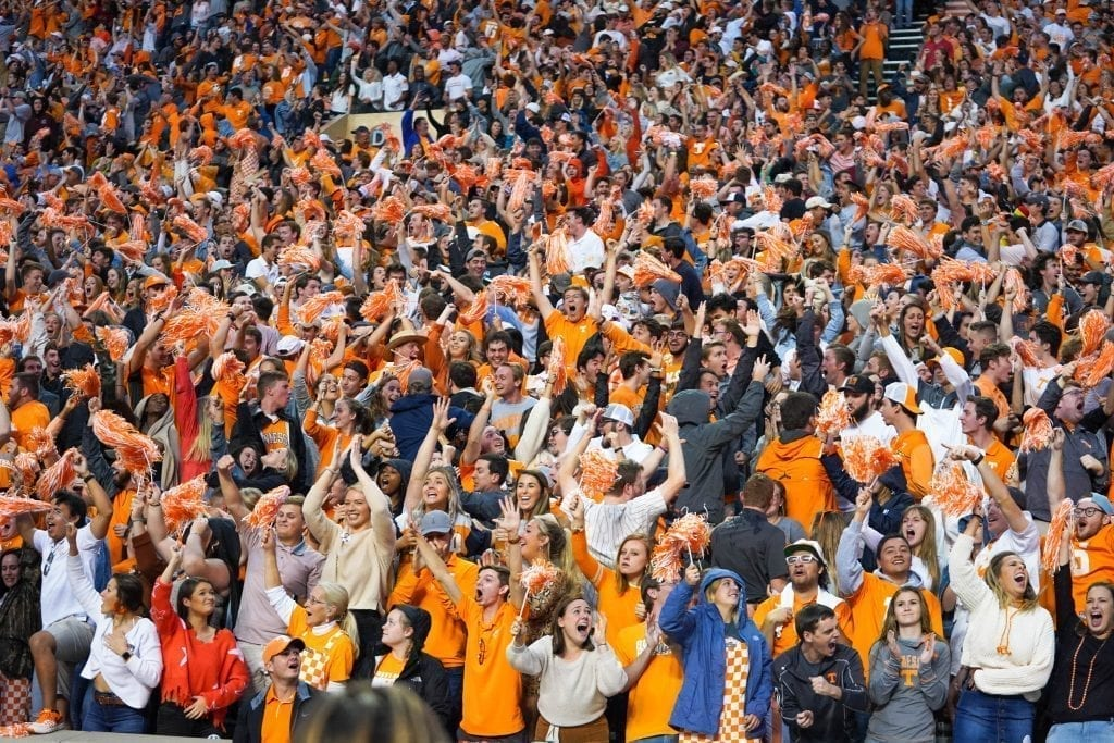 Tennessee fans cheering after a touchdown when Tennessee played South Carolina in Neyland Stadium on October 27, 2019. Photo/ Ben Gleason