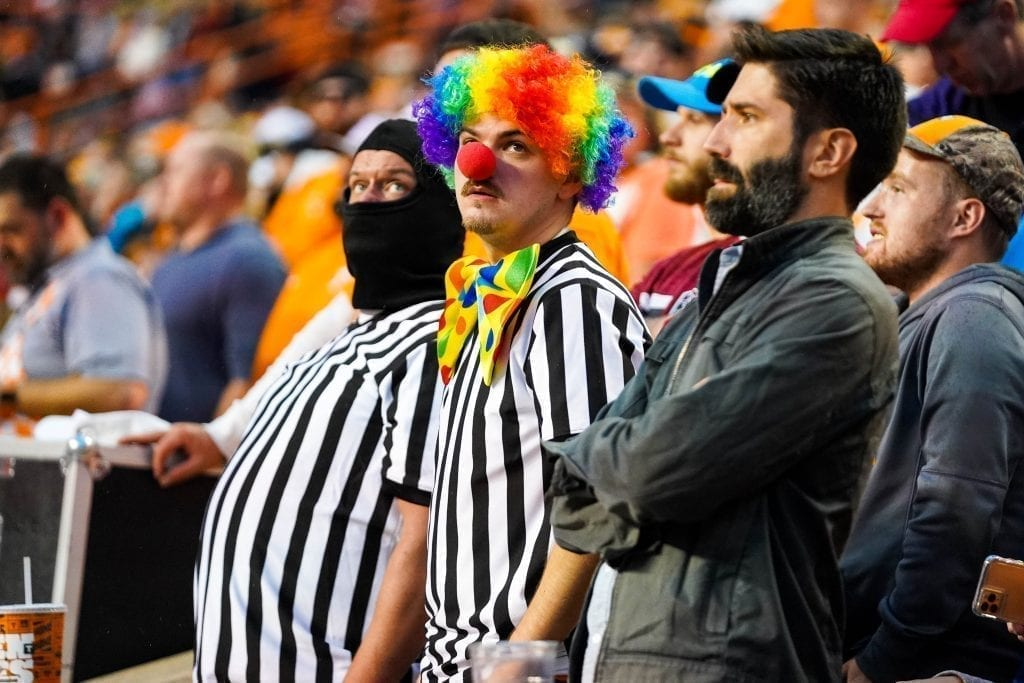 Fans dressed up as referees when Tennessee played South Carolina in Neyland Stadium on October 27, 2019. Photo/ Ben Gleason