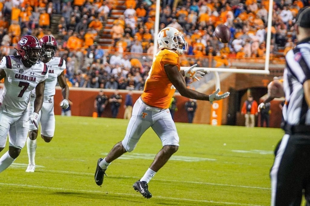 Tennessee wide receiver Jauan Jennings (15) tracks down the ball for a reception when Tennessee played South Carolina in Neyland Stadium on October 27, 2019. Photo/ Ben Gleason