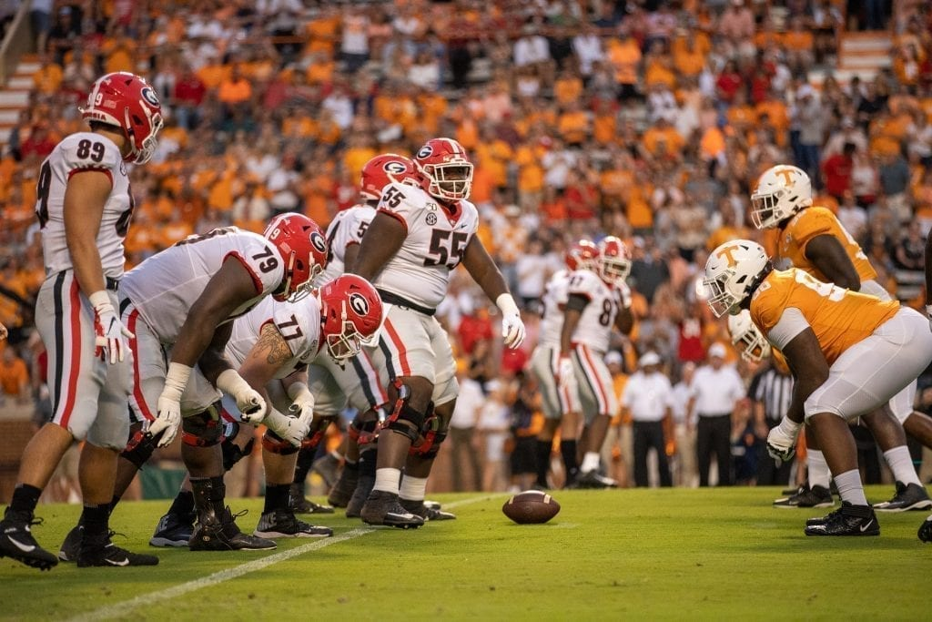 Georgia and Tennessee square up at the line of scrimmage when Tennessee played Georgia in Neyland on Oct. 5. Photo/ Ben Gleason