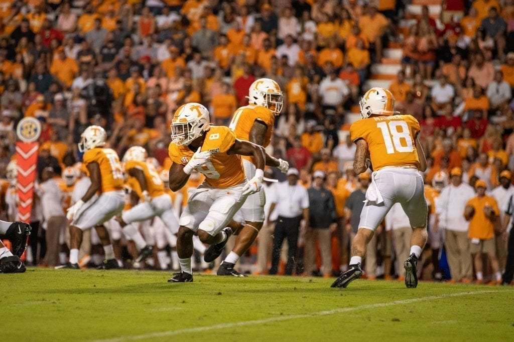 Quarterback Brian Maurer #18 initiates the offense in the backfield when Tennessee played Georgia in Neyland on Oct. 5. Photo/ Ben Gleason