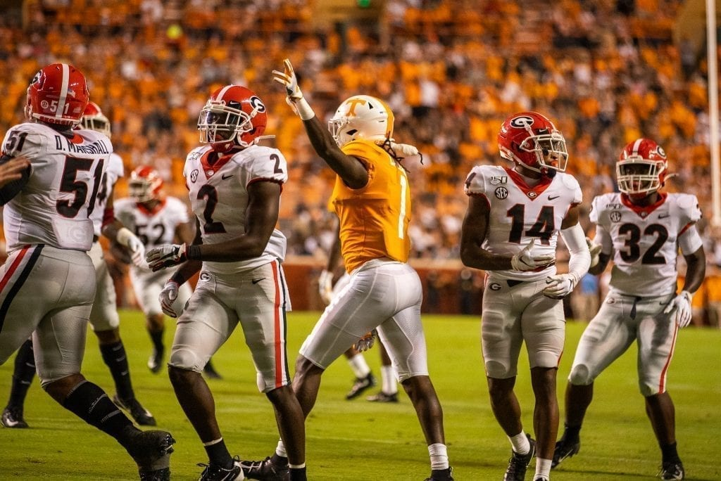 Wide receiver Marquez Callaway signals for a first down when Tennessee played Georgia in Neyland on Oct. 5. Photo/ Ben Gleason