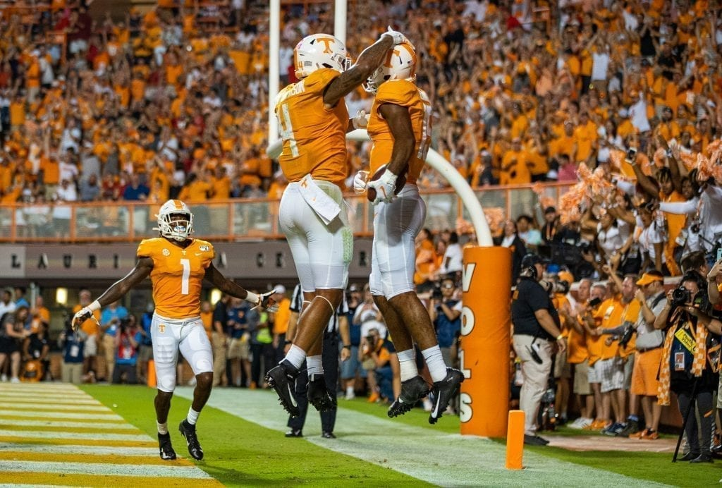 Tennessee wide receiver Jauan Jennings #15 celebrates a touchdown in the end zone when Tennessee played Georgia in Neyland on Oct. 5. Photo/ Ben Gleason