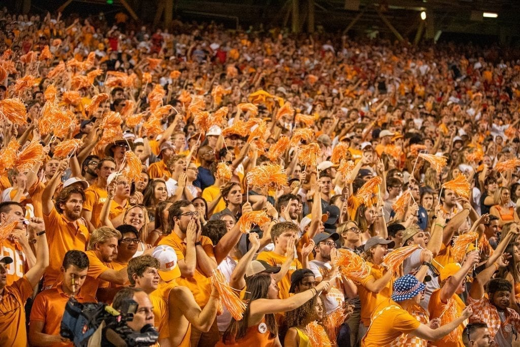 Tennessee fans cheer after a Volunteer touchdown when Tennessee played Georgia in Neyland on Oct. 5. Photo/ Ben Gleason